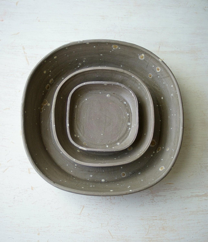 Nesting Bowl Set, set of three, gray, ceramic pottery