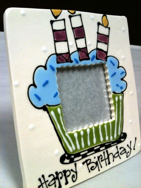 Square Birthday Frame  with Blue Cupcake- personalize