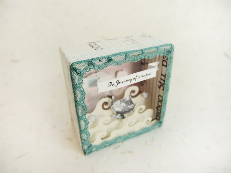 Handmade shadow box frame -The journey of a teapot- with a light