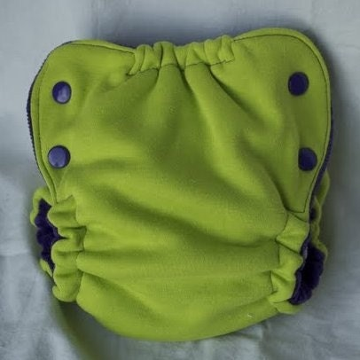 SALE fitted cloth diaper, lime and purple, fattycakes, size small SECOND