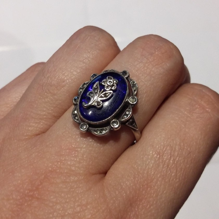 Antique Victorian Style Oval Royal Blue Forgetmenot Floral Flower Marcasite 935 German Silver Mourning Ring