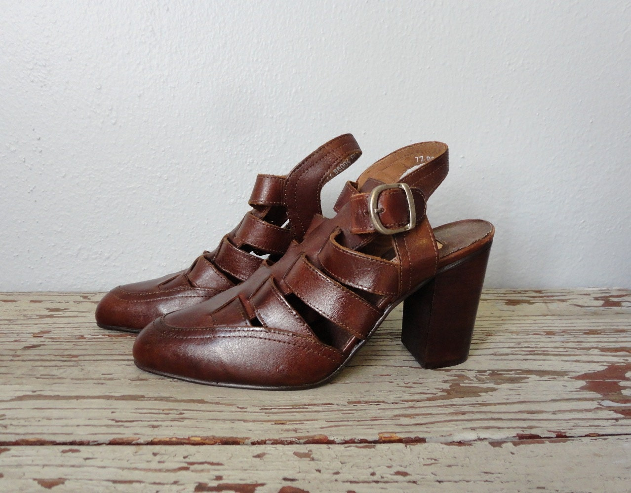 Vintage WILD PAIR Shoes / 1990s Cage Heels / Brown Leather Stacked