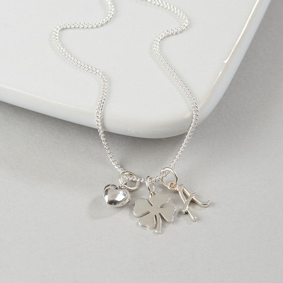 Personalised Lucky in Love NecklaceSilver Charm NecklaceFour Leaf Clover NecklaceSilver Initial NecklaceSilver Heart  Initial Necklace