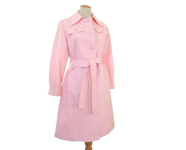 Vintage 70s Woman's Trench Coat Pastel Pink by mysweetiepiepie from etsy.com