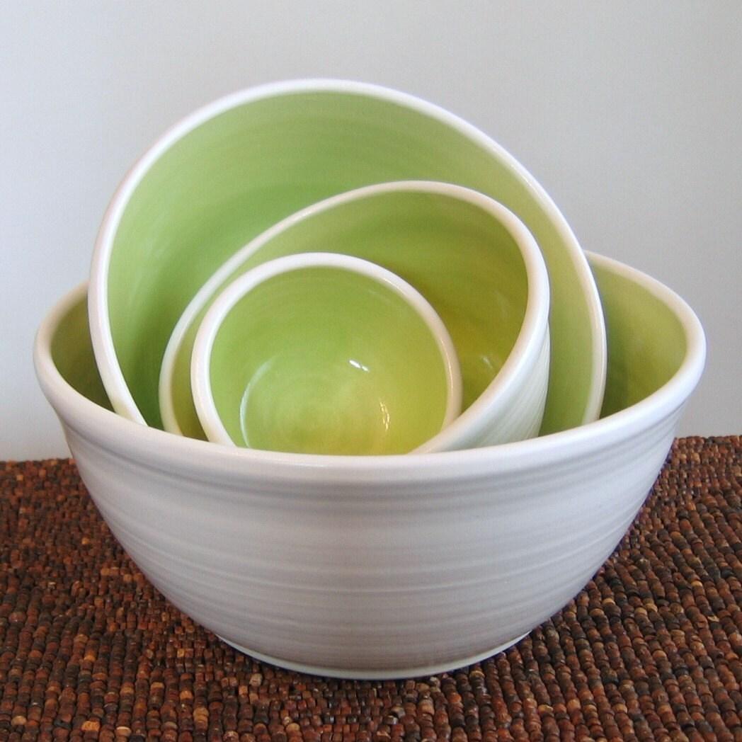 Lime Green Nesting Bowls -Large Set