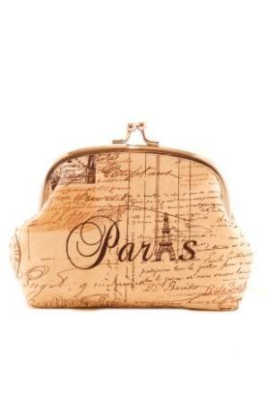 Timeless Treasures April In Paris Script Framed Purse