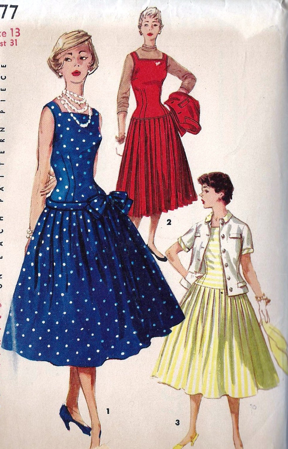 "1950s Junior Misses Summer Party Dress, Jumper and Jacket Vintage Sewing Pattern, Drop Waist, Pleated Skirt Simplicity 1077 bust 31"" uncut"