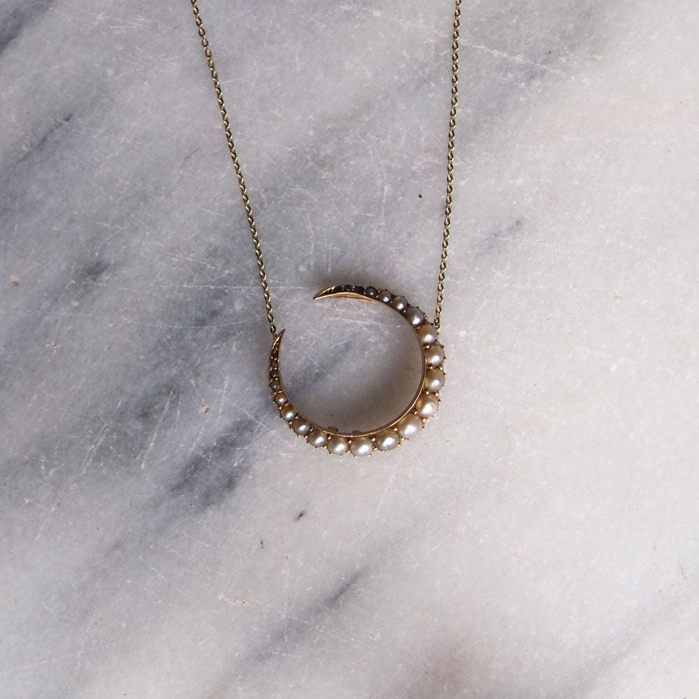 Antique Seed Pearl 9ct Gold Crescent Moon Pendant Necklace