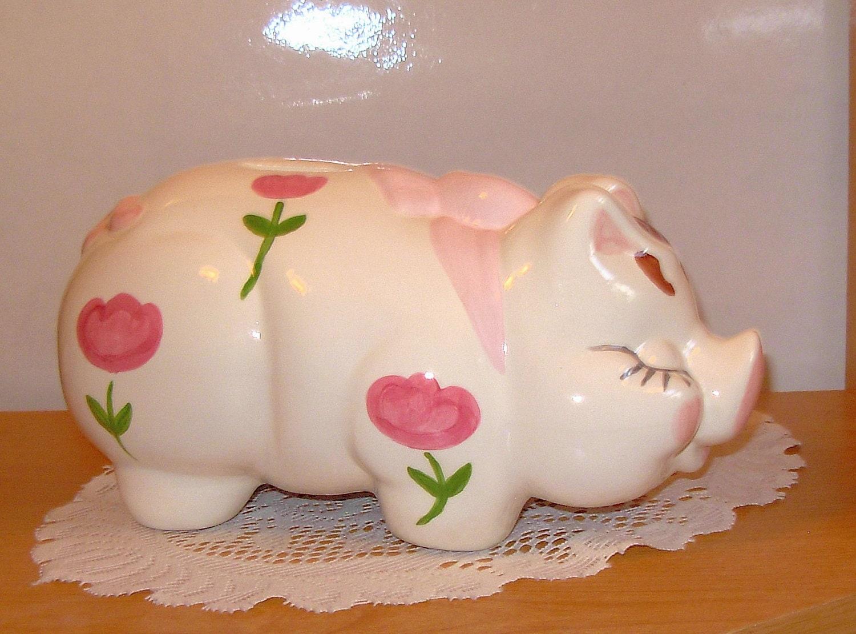 Large personalized ceramic piggy bank vintage by ceramicsbylisa - Extra large ceramic piggy bank ...