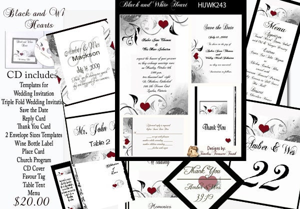 Delux Black and White WIth Hearts Wedding Invitation Kit on CD