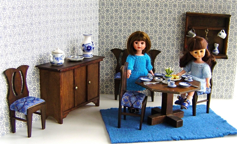 16 ART DECO DINING Room Diorama for 811 dolls like Bjd Betsy McCall Blythe Ginny Lottie Mini American Girl Skipper Toni