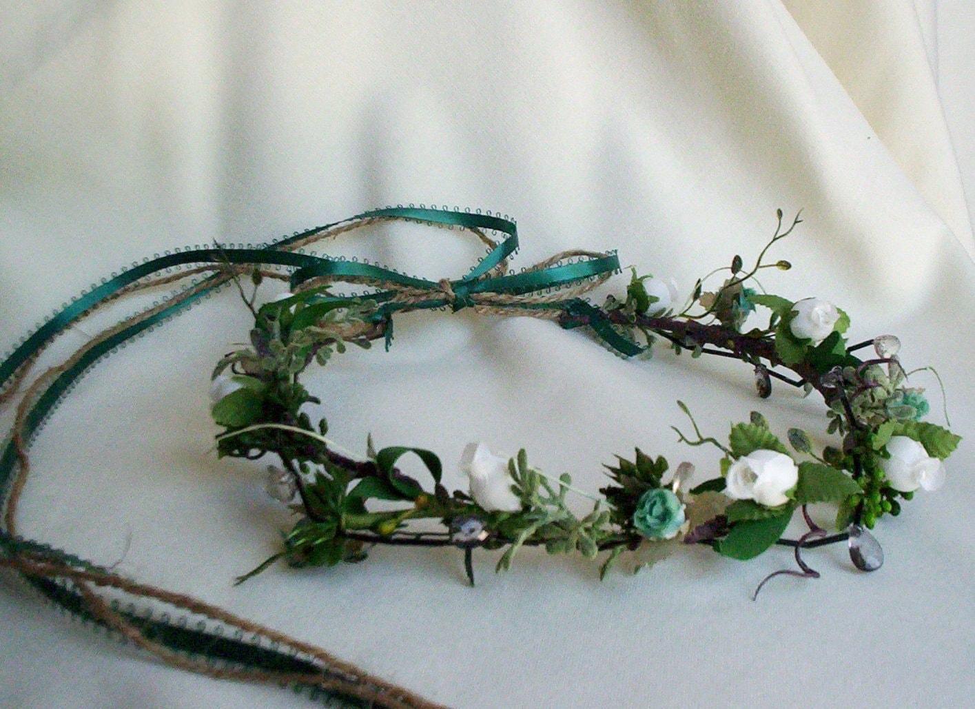 Teal Bridal Head Crown teal hair wreath Celtic