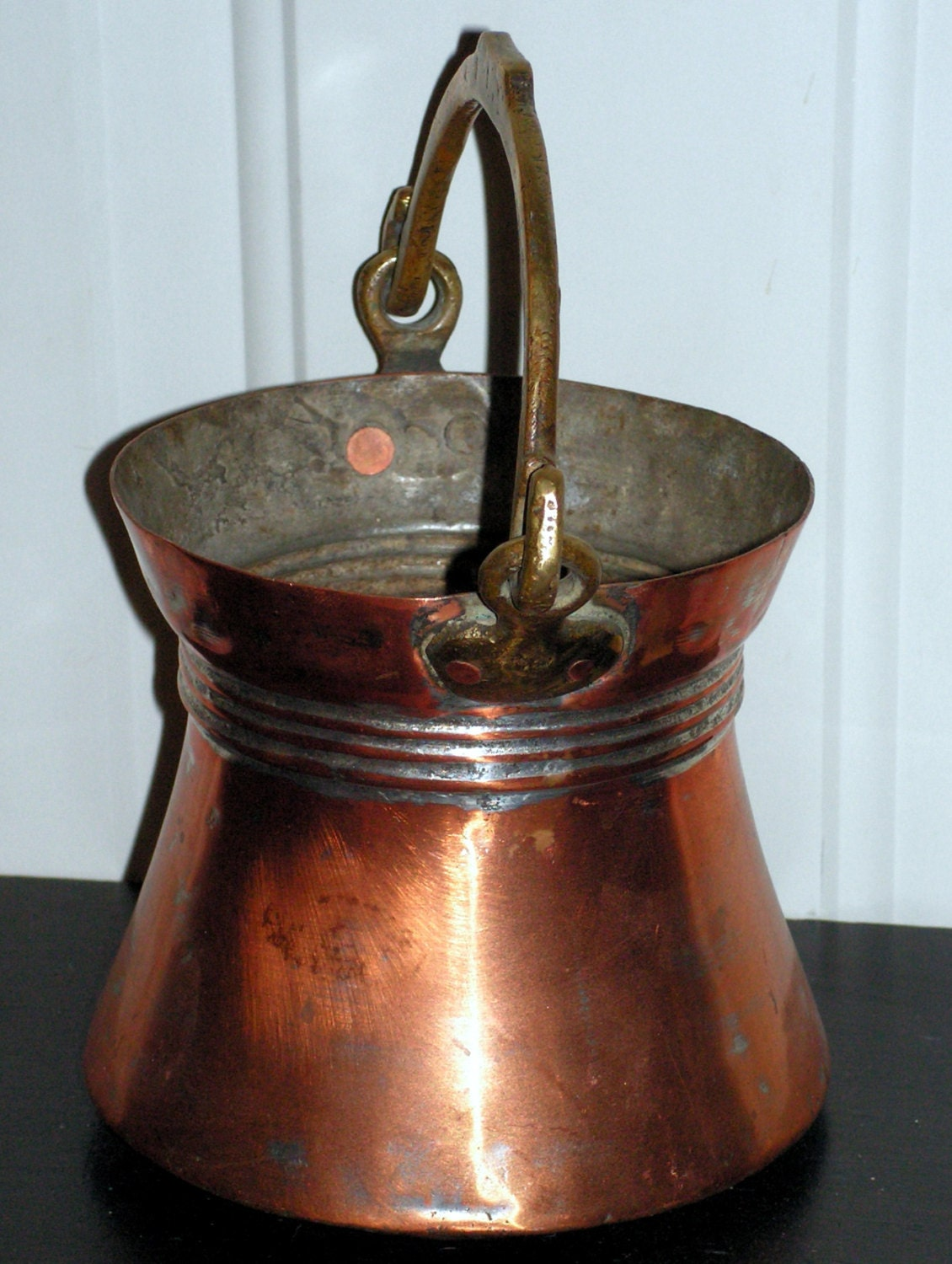 Vintage copper bucket with forged swing handle rustic