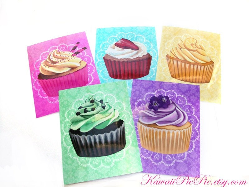 Art Prints - Set of 5 Cupcakes - 6 x 4.5 inches