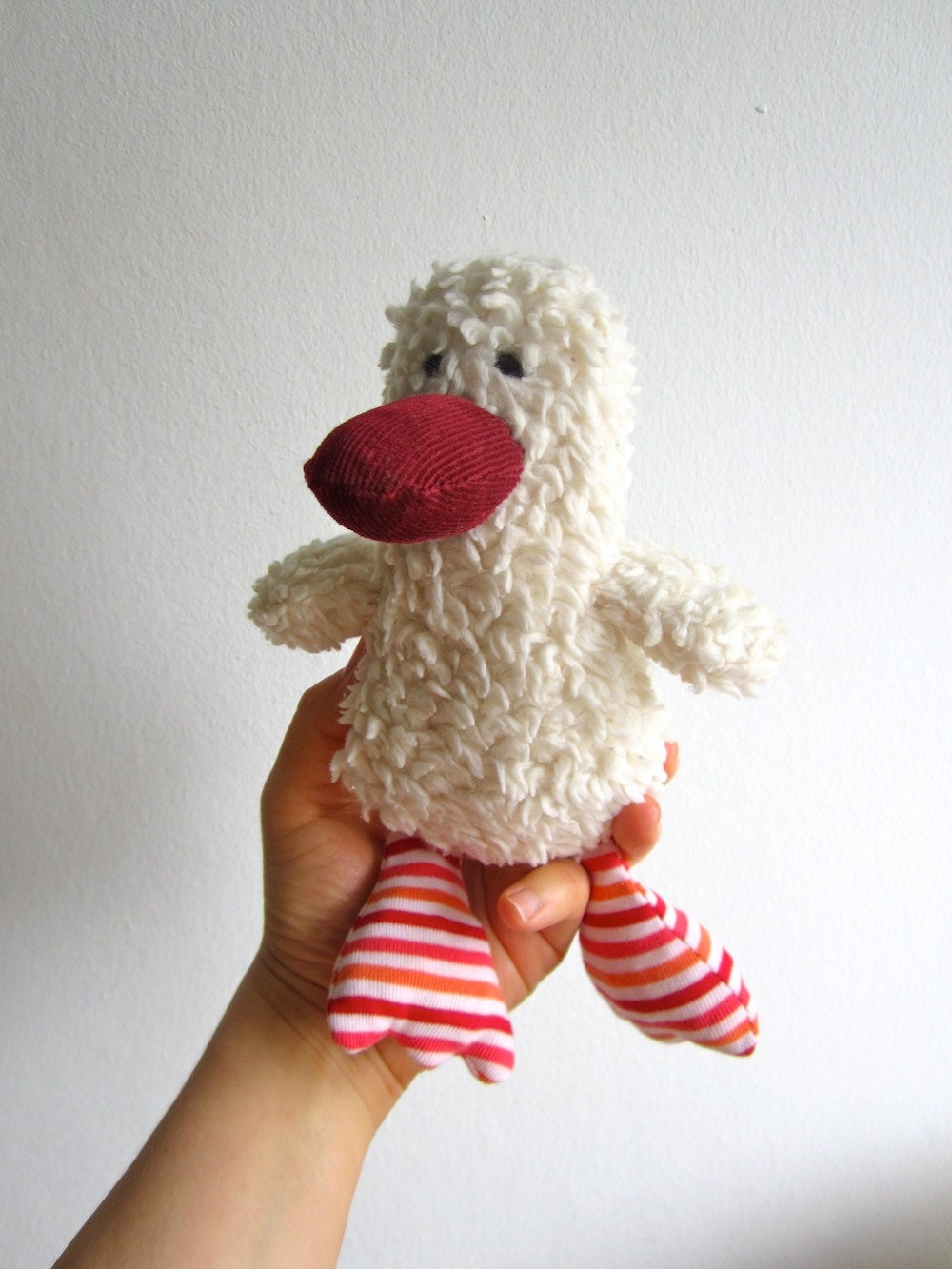 Duck, duckling, organic, eco friendly, baby gift, shower gift, organic kids, soft, cuddly, white, red, ready to ship