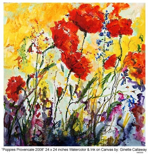 REDUCED - Poppies Provencale 2008 Watercolor and Ink by Ginette Callaway