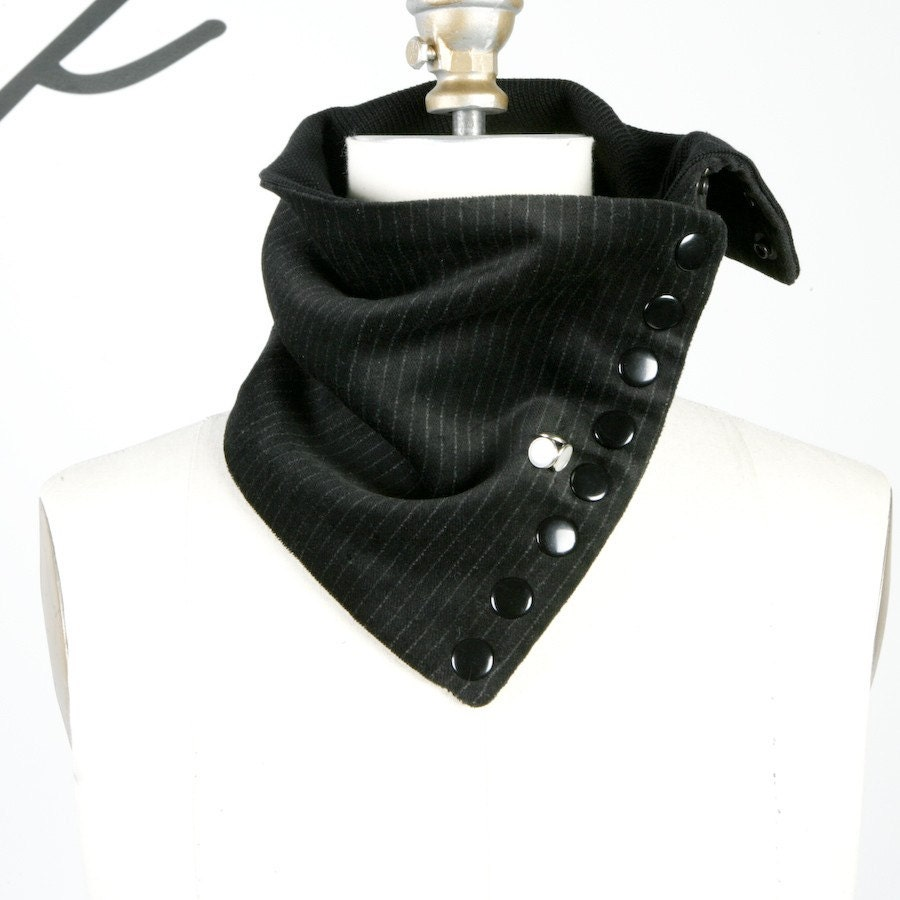 Super Versatile Pinstripe Scarflette Collar Special Button Series (Vegan Friendly)