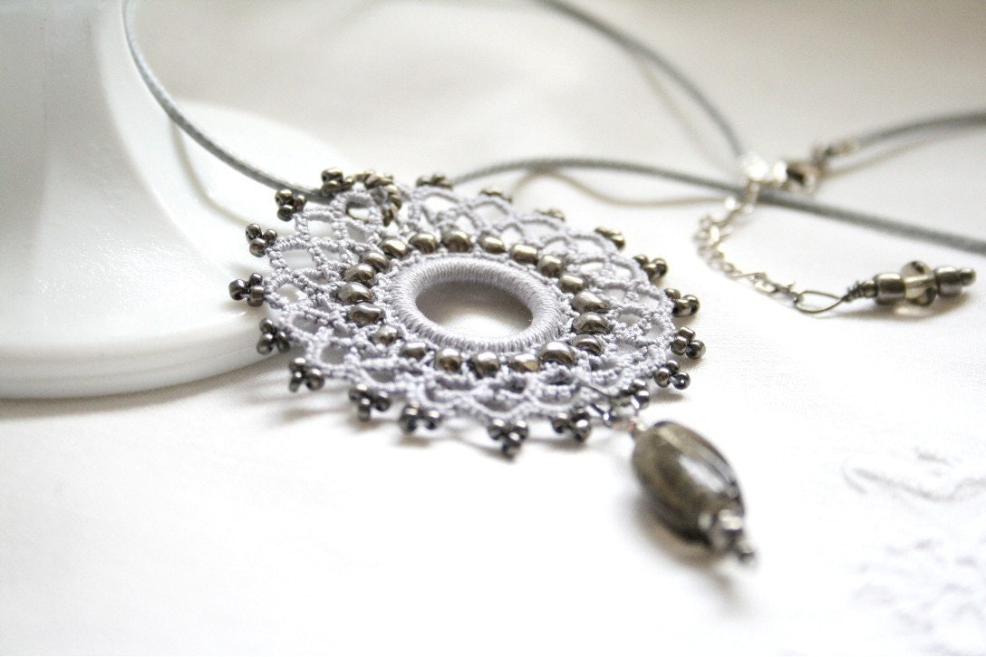 Silver Pendant crocheted