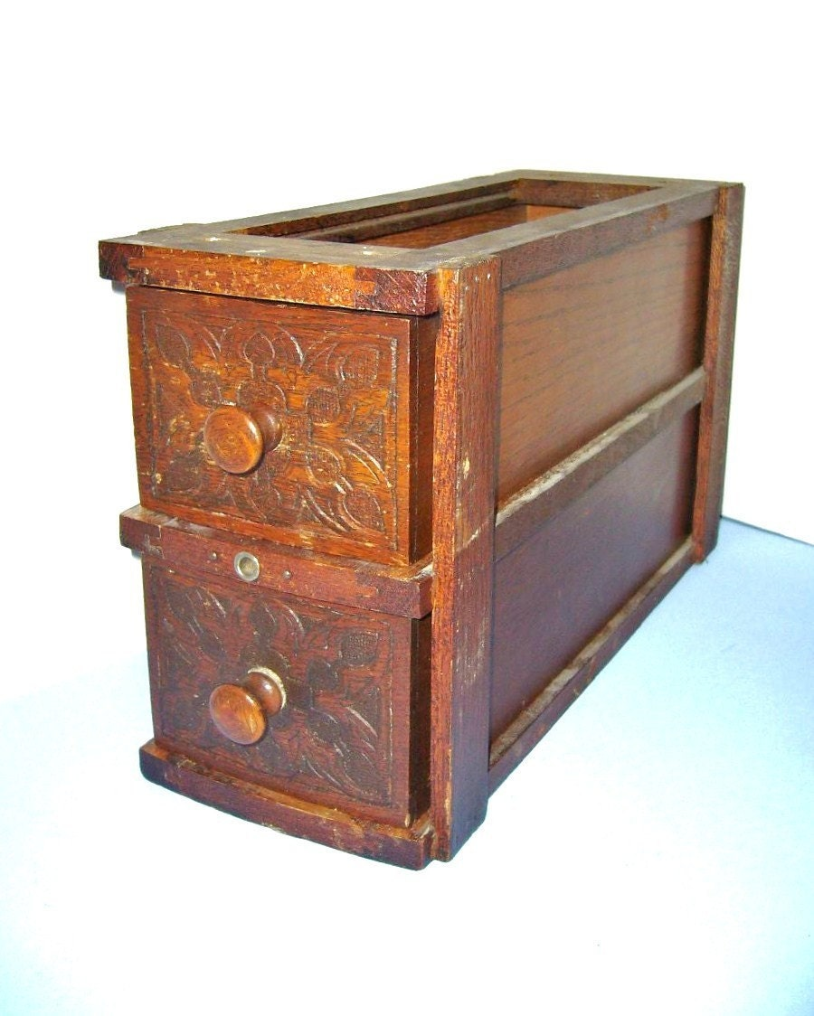 Vintage Wooden Double Drawers