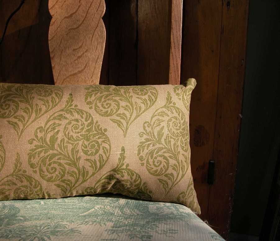 Fiddlehead hand printed linen pillow - giardino