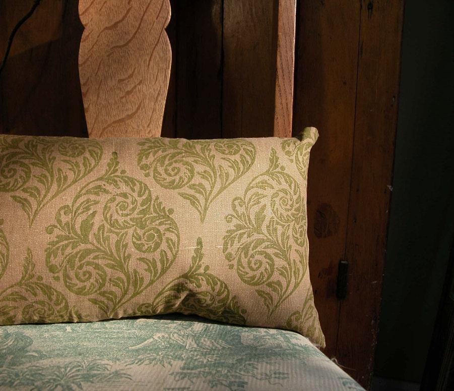 Fiddlehead hand printed linen pillow - giardino