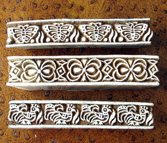 Hand carved wood stamps indian printing block set by