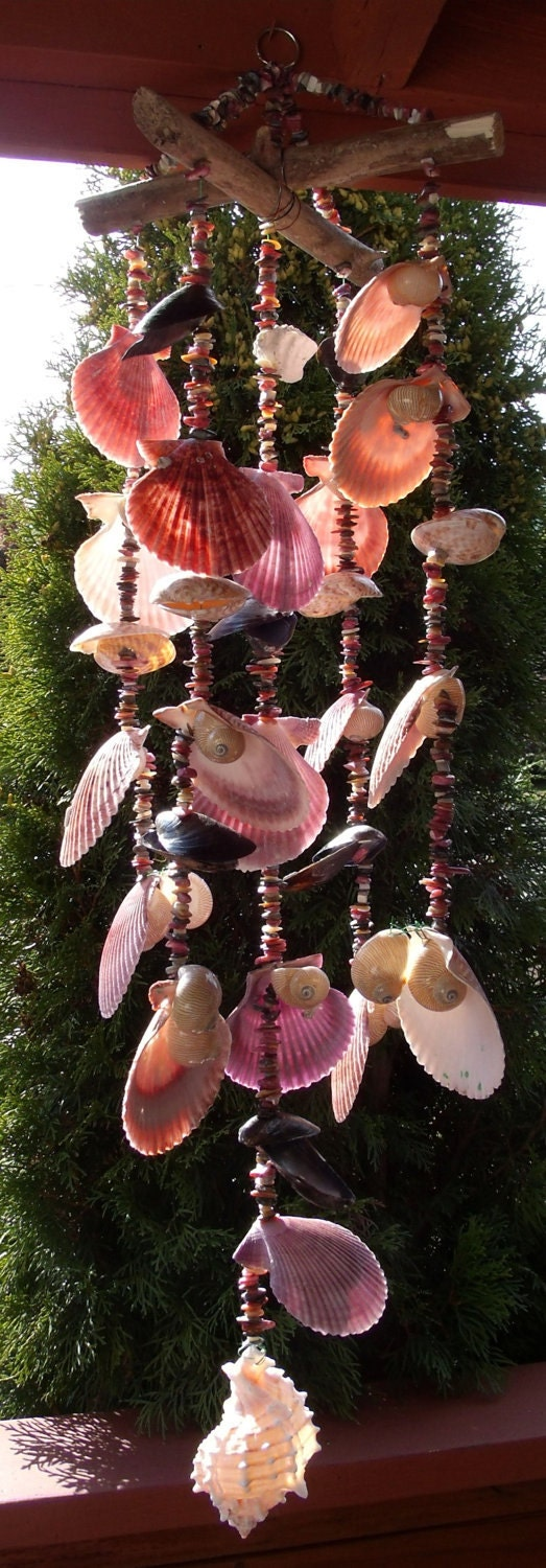 Sea shell wind chime 10 linear nauticas nobilis by eagle414 for Shell wind chimes diy