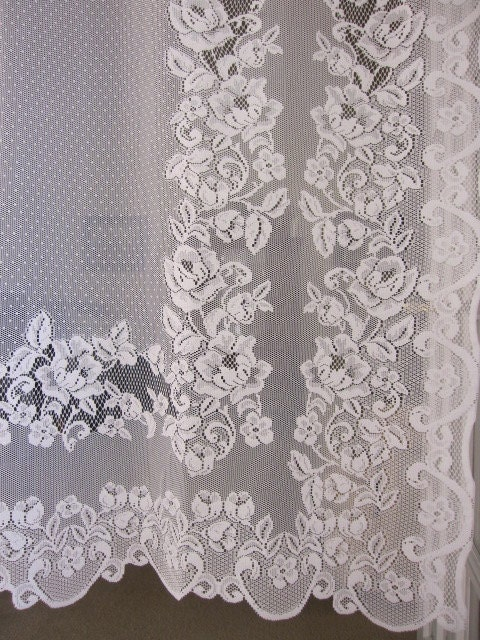 reduced vintage lace curtain white baroque by thecottageway