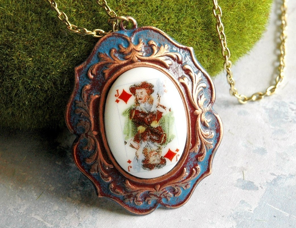 Alice in Wonderland Necklace  Vintage Playing by bionicunicorn