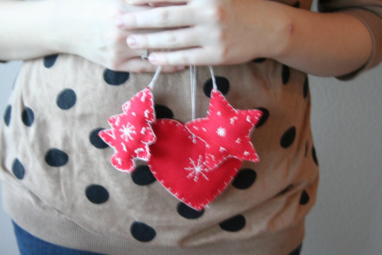 Felt Primitive Ornaments // Set of Three Felt Ornaments // Hand Embroidered Red Felt Ornaments