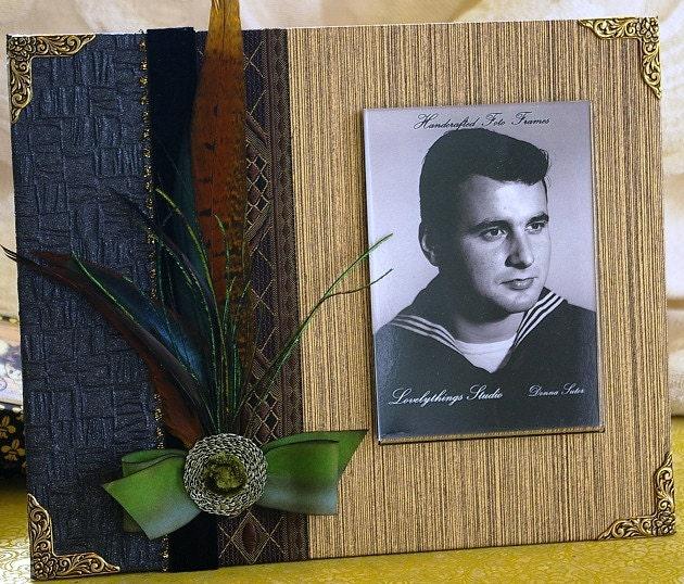 Отец, фоторамки ручной работы, для Него, мужской, текстурные сочетания бумаги и текстиля