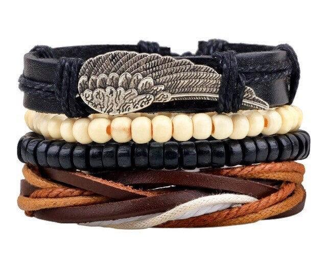 Leather boho bracelet set of 4 punk braided adjustable bracelets mens leather braceletwomens bracelet unisex eagle wing leather bracelet