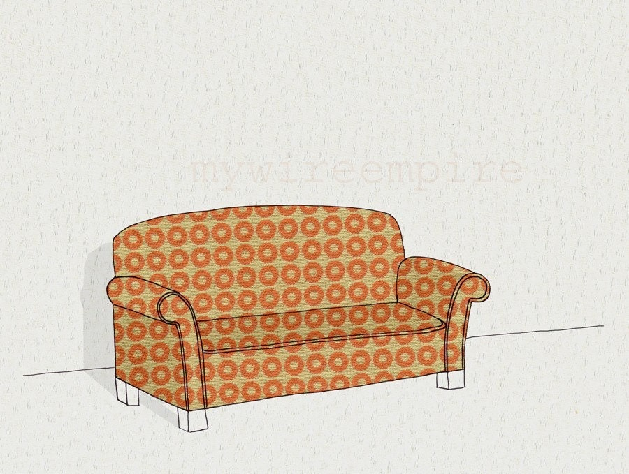 modern sofa 2 (orange dot) - print