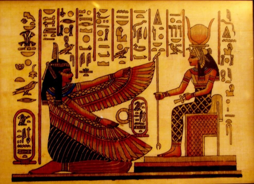Egypt Papyrus painting - Sphinx Pyramid Replica