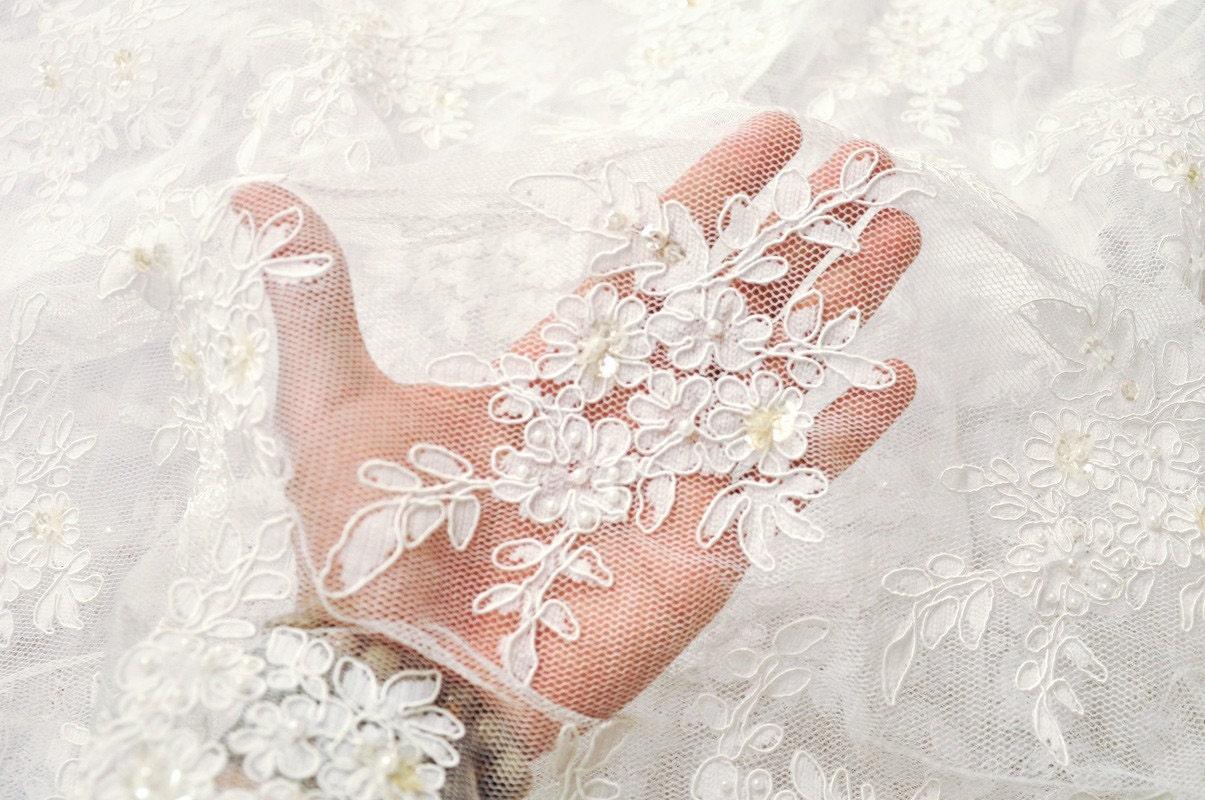 White Bridal Lace Fabric Ivory wedding lace fabric