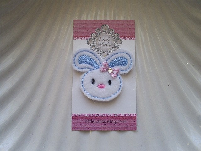 Little Bunny with Blue and Pink and White Polka Dot Bow and Swarvoski Crystal Hair Clip