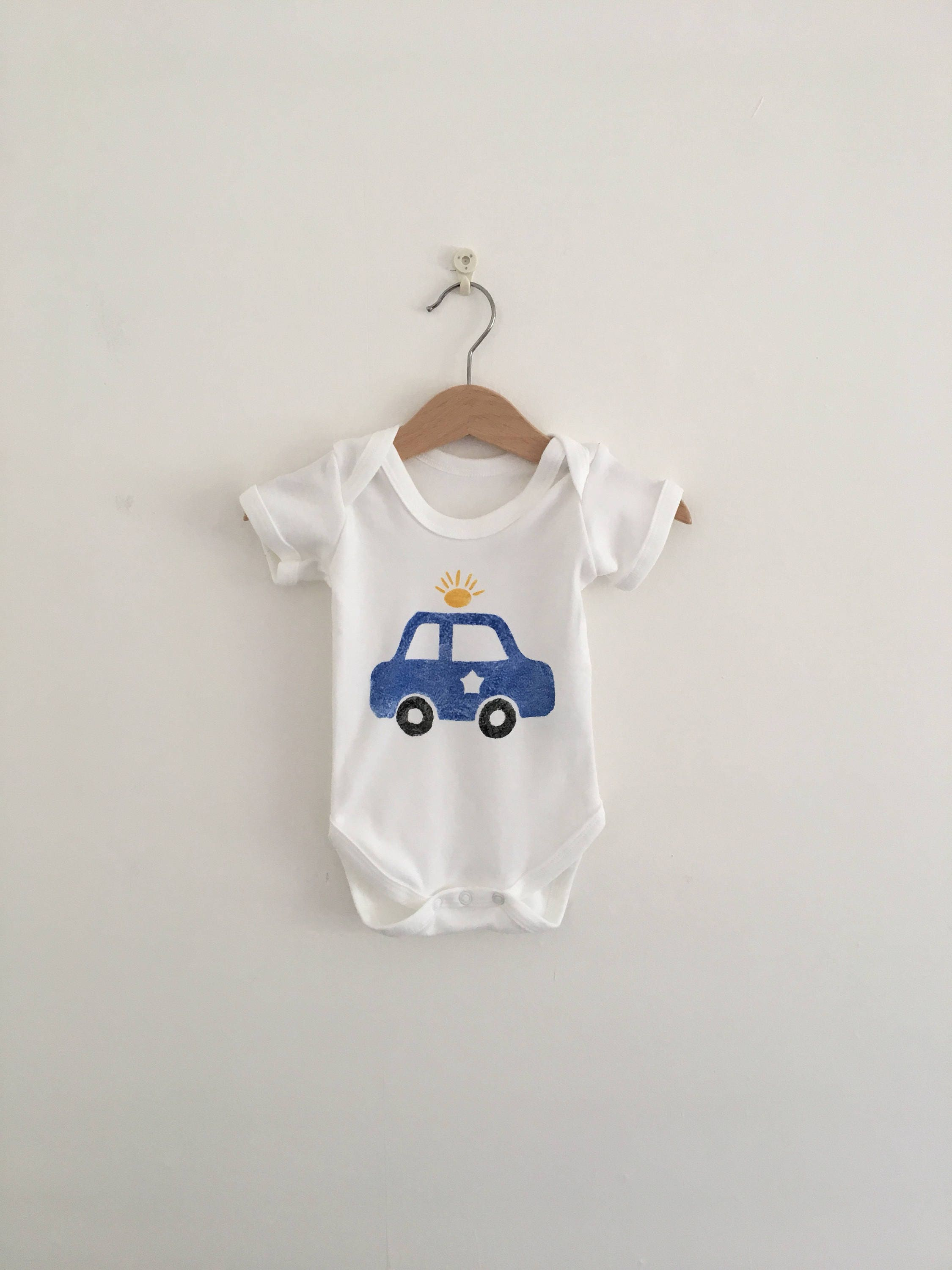 Police Car Baby Clothes 100 Organic Cotton Bodysuit  Police Mom  Police Dadda  Onsie  Vest  newborn gift  Cop Car  Police Baby