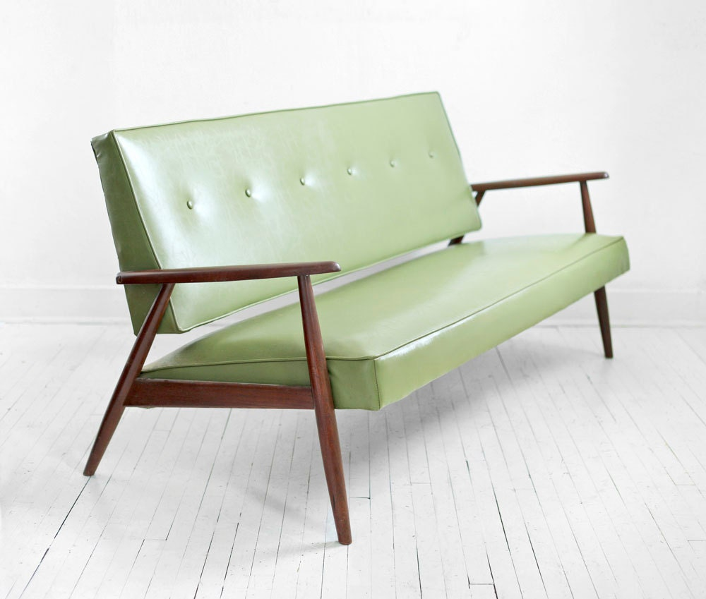 century green sofa modern wood couch retro leather look eames