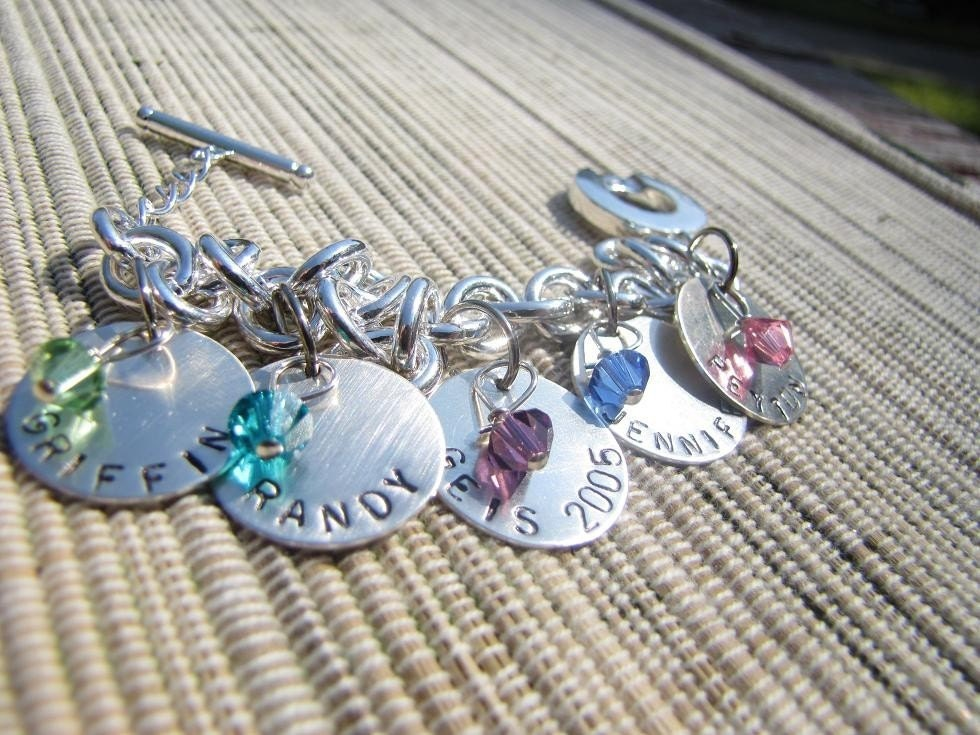 Family Circle Hand Stamped Charm Bracelet