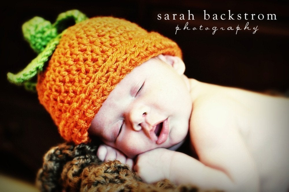 Baby Pumpkin Crochet Beanie Hat Infant Pumpkin Beanie by ...