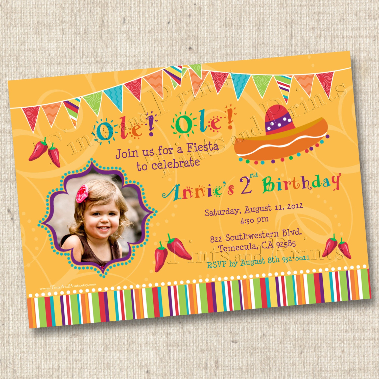 Ole ole fiesta custom birthday party photo by tintsandprints for Etsy engagement party invites