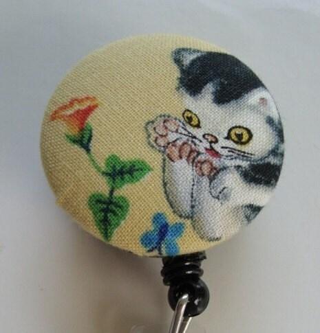 Little Golden Books Kitten Fabric Covered Badge Reel, ID Holder OR Keychain