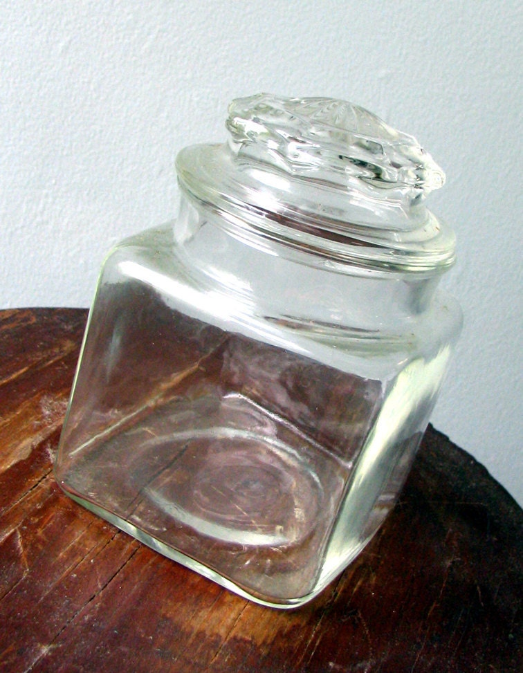 items similar to vintage glass candy jar with lid late 1960 39 s or early 1970 39 s on etsy. Black Bedroom Furniture Sets. Home Design Ideas