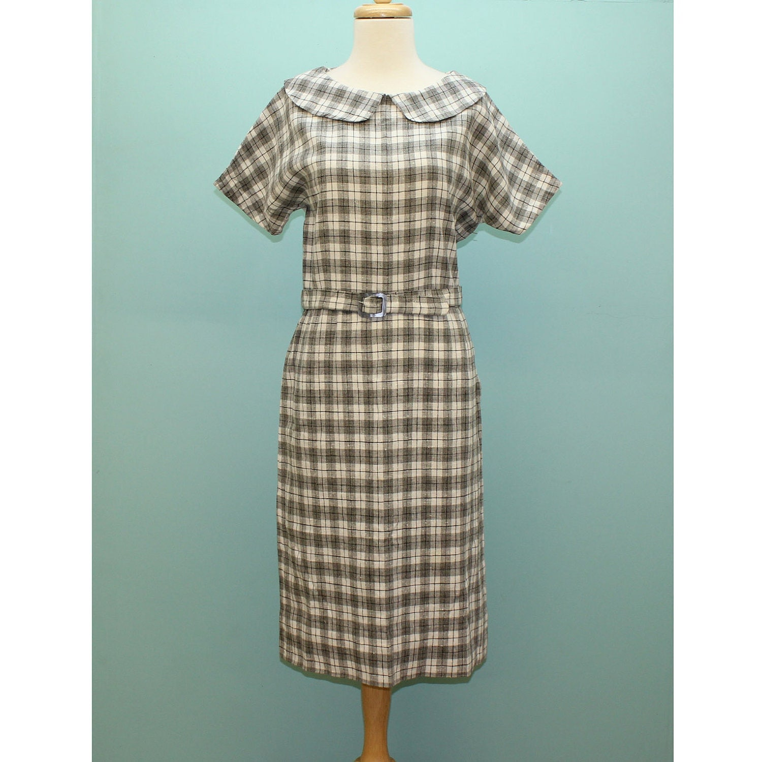 60's Plaid Linen Belted Shirtwaist Dress - Medium to Large
