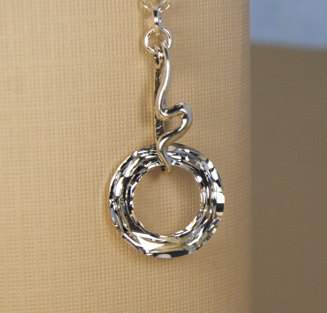Free Shipping - Crystal Circle of Love Eternity Silver Necklace