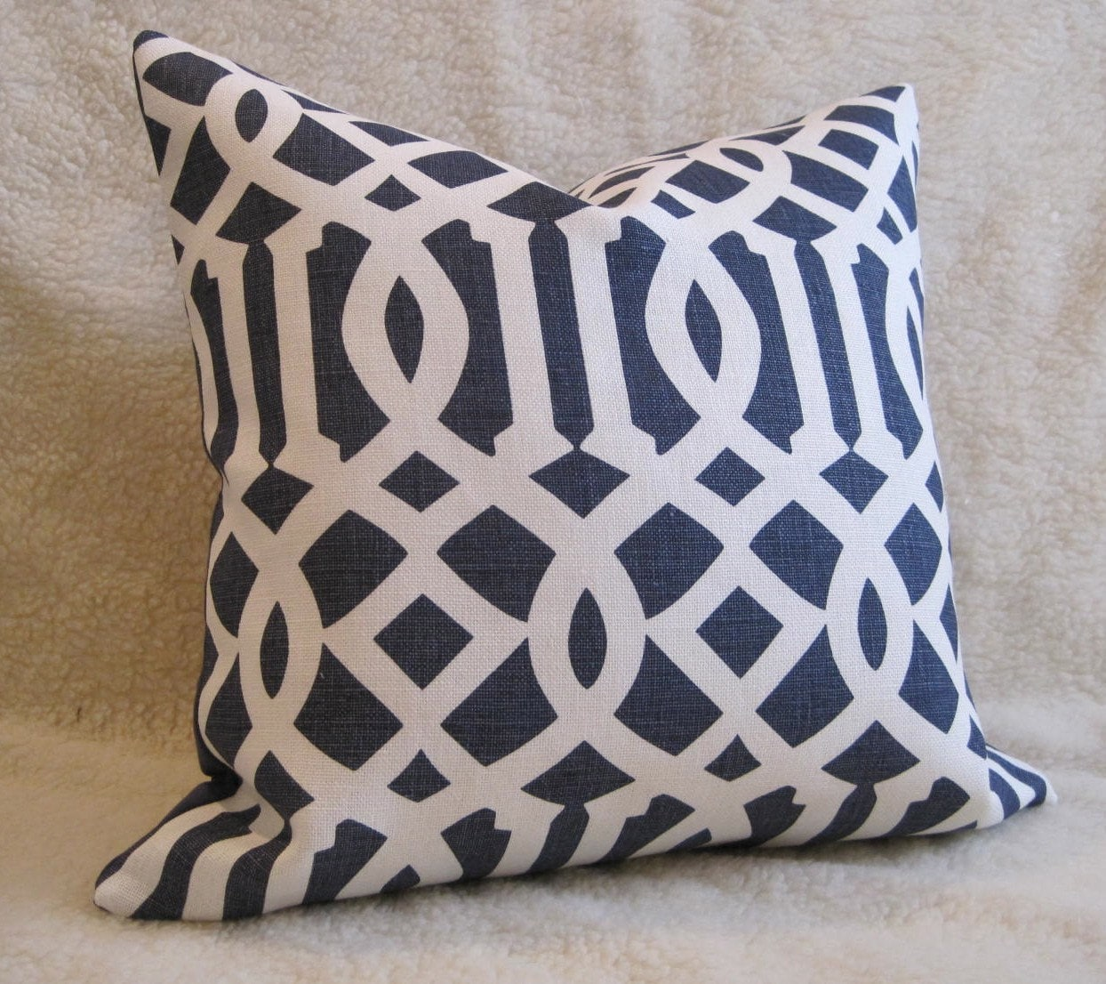 Pair of 2 Schumacher Imperial Trellis / Kelly Wearstler Linen Pillows / Navy / 20 inch