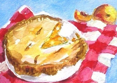 PEACH PIE Original ACEO Mini Painting Art by Rodriguez