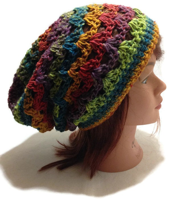 Crochet Stitch Open : Crochet Ombre Pale Rainbow Open Stitch Slouchy Beanie Hat