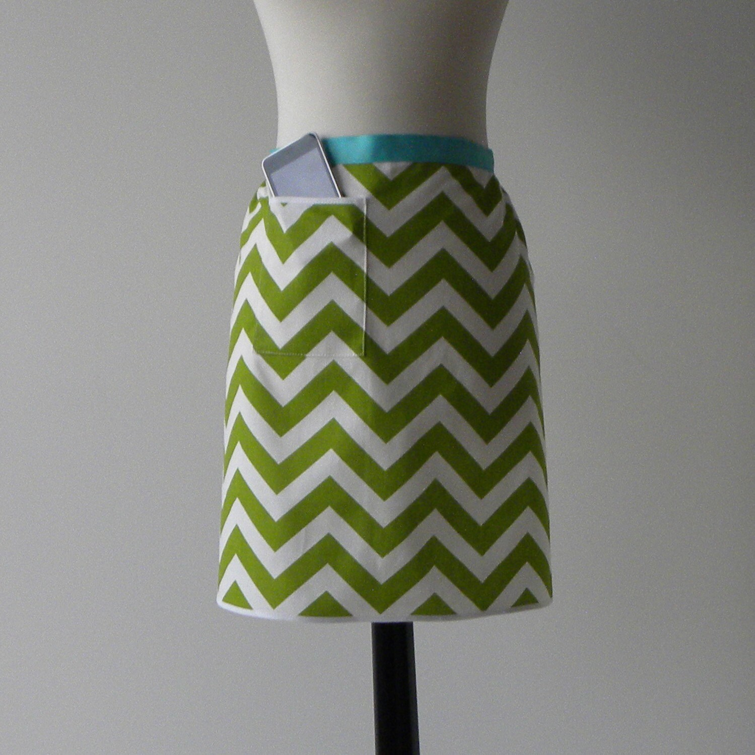 MODERN HOSTESS APRON with iPod/iPhone/smartphone pocket- Lime Green and White Chevron Stripe (Free Shipping)