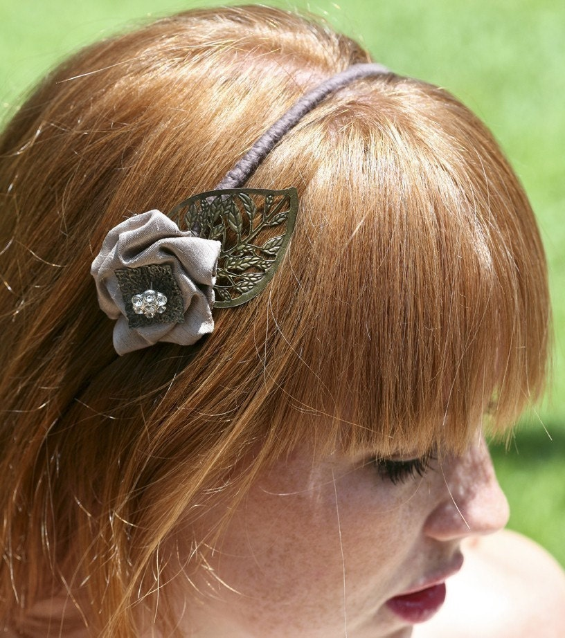 Metal leaf and Flower Headband for women and teens